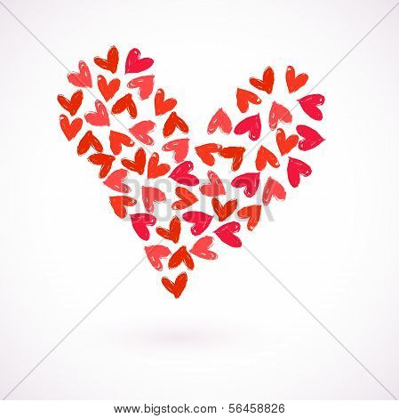 Vector card with many watercolour painted hearts