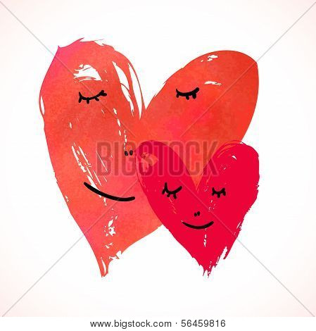 Two watercolor painted hearts with faces