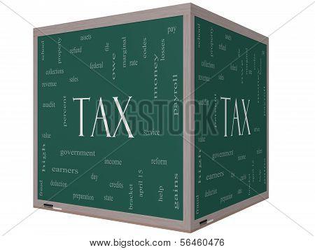 Tax Word Cloud Concept On A 3D Cube Blackboard