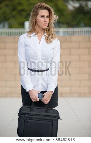 Pretty Attractive Blond Caucasian Business Woman In Her Twenties