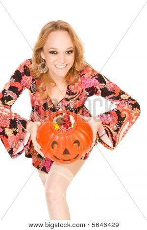 Woman With Successful Halloween Trick Or Treat