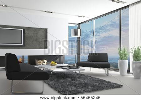 Living Room with Landscape View | 3D Interior Architecture