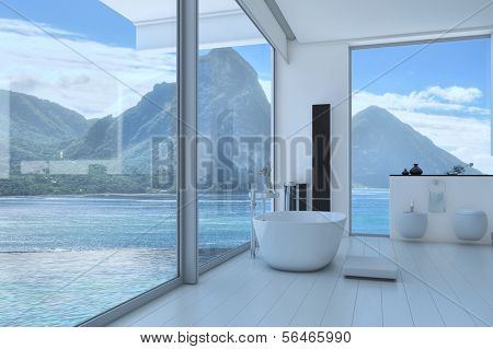 Amazing white bath room interior with aerial view of the carribean sea | 3D Interior
