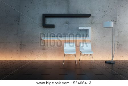 A 3D rendering of moder interior with chairs