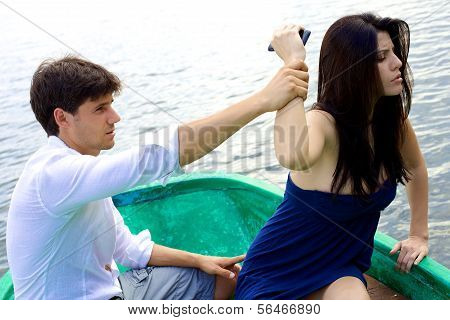 Woman Angry With Boyfriend Wanting To Throw Phone In Water