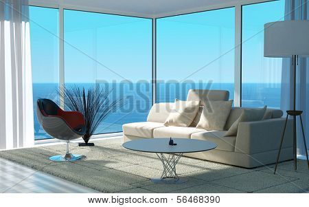 A 3D rendering of sunny living room interior