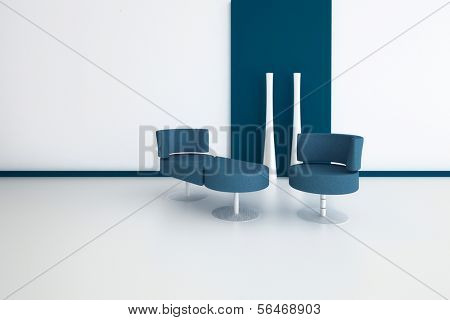 A 3D rendering of modern interior with chairs