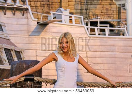 Vacation In Las Vegas. Girl On A Background Of A Pirate Ship