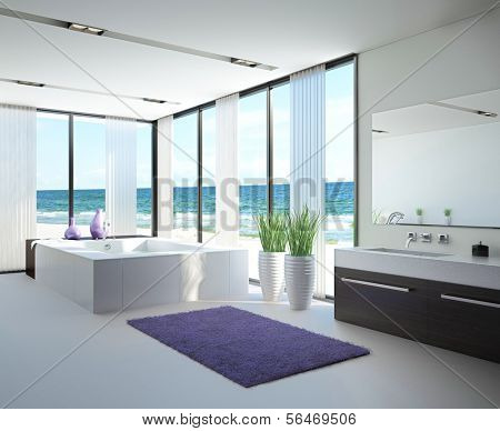 A 3D rendering of light bathroom interior with jacuzzi
