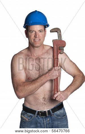 Male With Naked Torso, Bue Helmet  And Wrench