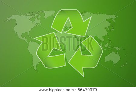 Green Worldmap With Symbol Of Recycling