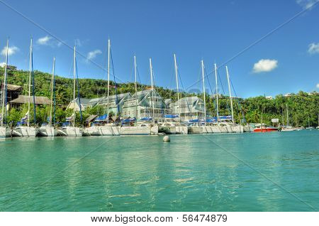 SAINT LUCIA - JANUARY 20: Boats moored in Marigot Bay in St. Lucia January 20, 2011 in Saint Lucia, Caribbean
