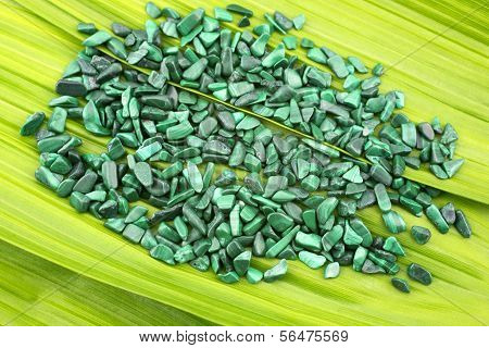 Malachite stone pebbles