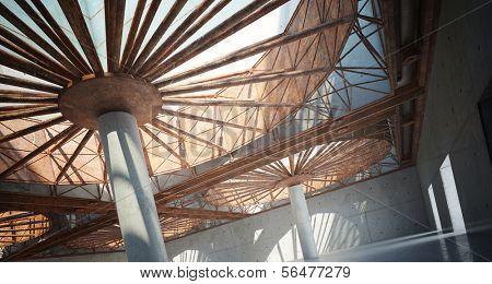 A 3D rendering of modern atrium