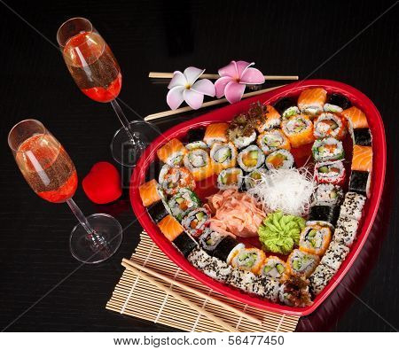 Delicious Sushi. Big Sushi Set For Few Persons.