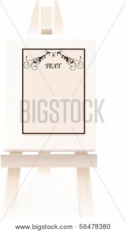 Blank paper with a design elements on a decorative wooden easel. Vector illustration
