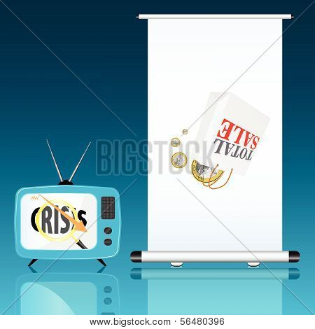 Total Sale With Euro And Crisis Color Vector Illustration
