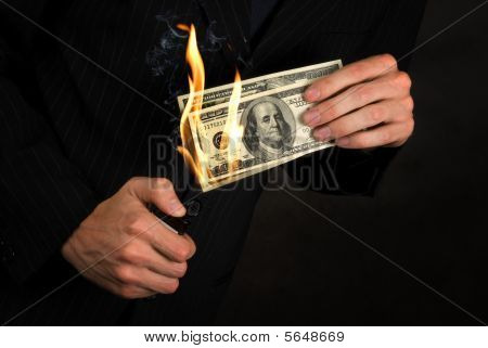 Flaming Money In Hand
