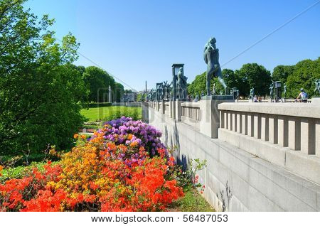 OSLO - JULY 16: Panorama of the Vigeland Park July 16, 2009 in Oslo, Norway