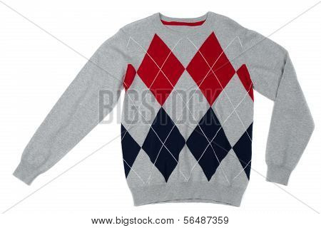 Male Gray Sweater With Rhombic Pattern
