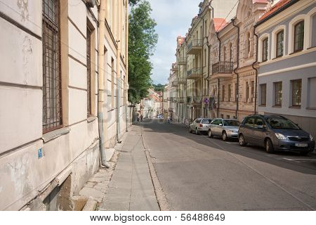 VILNIUS, LITHUANIA, AUGUST 10: Beautiful houses in the street in old town of Vilnius, Lithuania Augu