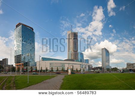 VILNIUS, LITHUANIA, AUGUST 11: Skyline financial centre of Vilnius, Lithuania
