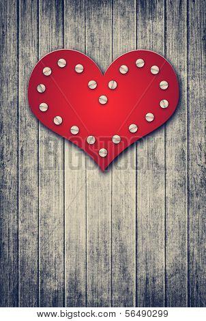 Grunge Valentine Background With Red Heart