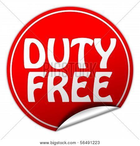 Duty Free Round Red Sticker On White Background