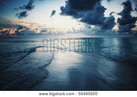 Waterscape on Maldives in dusk
