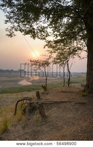 Landscape in South Luangwa National Park in dusk, Zambia, Africa