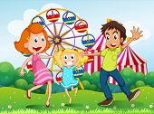 pic of hilltop  - Illustration of a happy family at the carnival in the hilltop - JPG