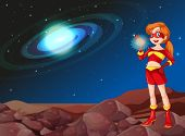 picture of outerspace  - Illustration of a lady superhero at the outerspace - JPG