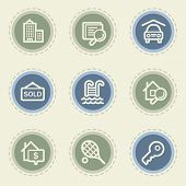 Real estate web icon set, vintage buttons