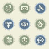 Communication web icon set, vintage buttons