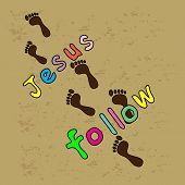 image of footprints sand  - I have decided to follow Jesus  - JPG