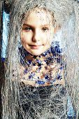 image of snow queen  - Portrait of a beautiful girl who looks like a little snow Queen - JPG
