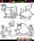 stock photo of cash cow  - Coloring Book or Page Cartoon Illustration Set of Black and White Sayings or Proverbs for Children - JPG