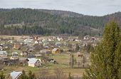picture of zakarpattia  - General view of Ukrainian village against Carpathian mountains - JPG