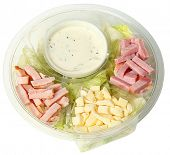 Healthy Fast Food Chef Salad in Carryout Bowl isolated over white.