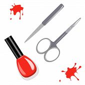 stock photo of acetone  - Vector illustration of scissors and manicure set nail file and nail polish - JPG