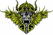 image of war terror  - warrior skull with war helmet and wings - JPG
