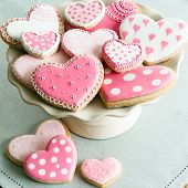 stock photo of cake stand  - Valentine cookies - JPG