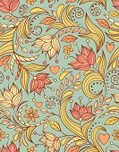 pic of orange blossom  - Vector illustration of seamless pattern with abstract flowers - JPG