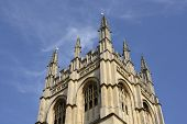 picture of grotesque  - Merton College chapel tower with gargoyles and grotesques - JPG