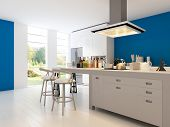 foto of stool  - A 3D rendering of modern kitchen - JPG