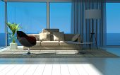 A 3D rendering of sunny living room with large windows