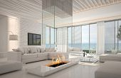 A 3D rendering of white living room interior