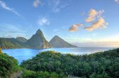 stock photo of volcanic  - Panorama of Pitons at Saint Lucia - JPG