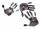 stock photo of dna fingerprinting  - Detail print of the black hand on white background - JPG