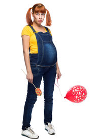 picture of teen pregnancy  - youth teen girl pregnancy over white background - JPG